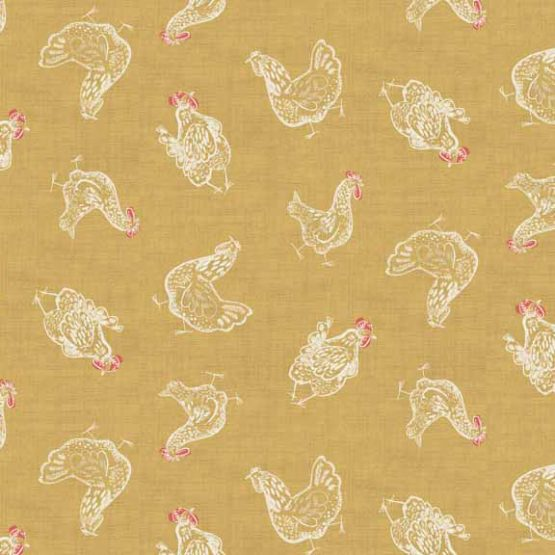 Makower Home Grown Chickens Yellow cotton fabric - Holm Sown