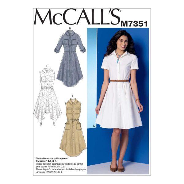 Holm Sown: McCalls 7351 - Misses' Shirtdress Custom Fit Dressmaking Pattern