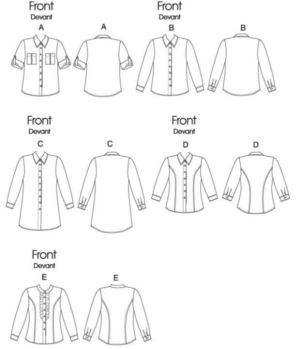 Holm Sown: Butterick B5526 Misses' Button-Down Collared Shirts   dressmaking sewing pattern