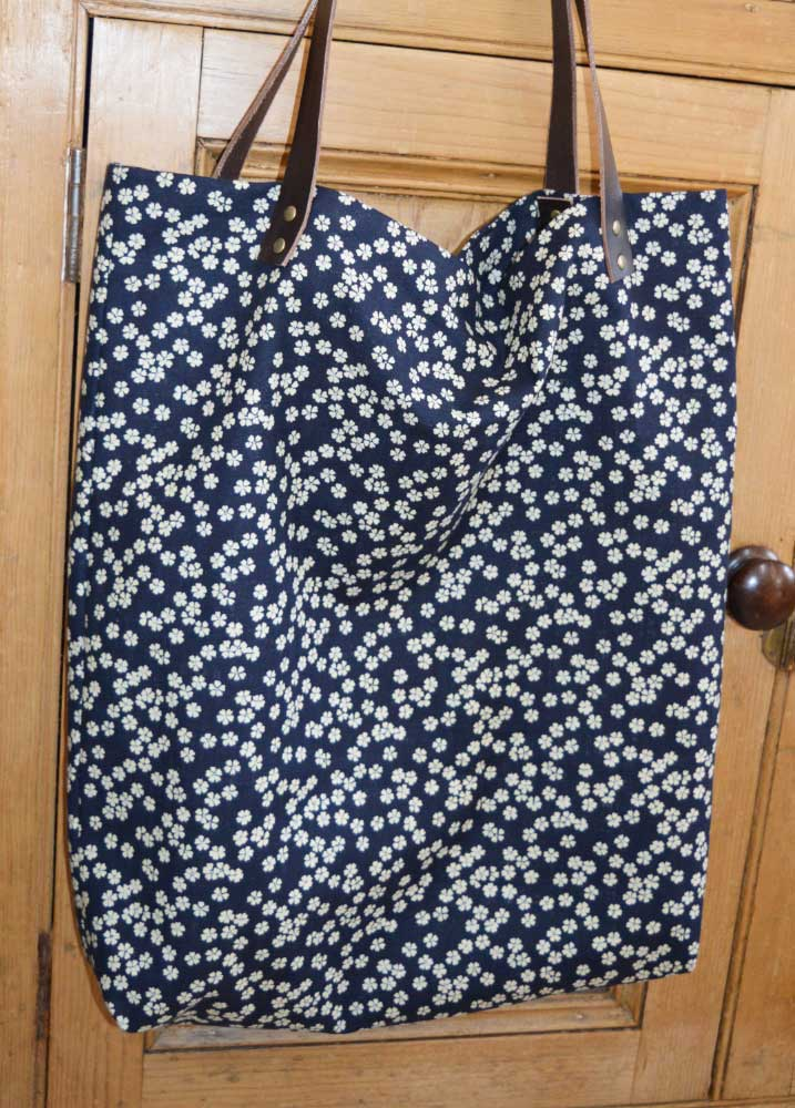 Sewn at Holm Sown - Genoa Tote Bag // sevenberry floral bag with brown leather handles