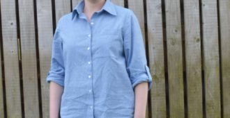 Holm Sown: Butterick B5526 Shirt in yarn dyed cotton chambray // front view with sleeves rolled up