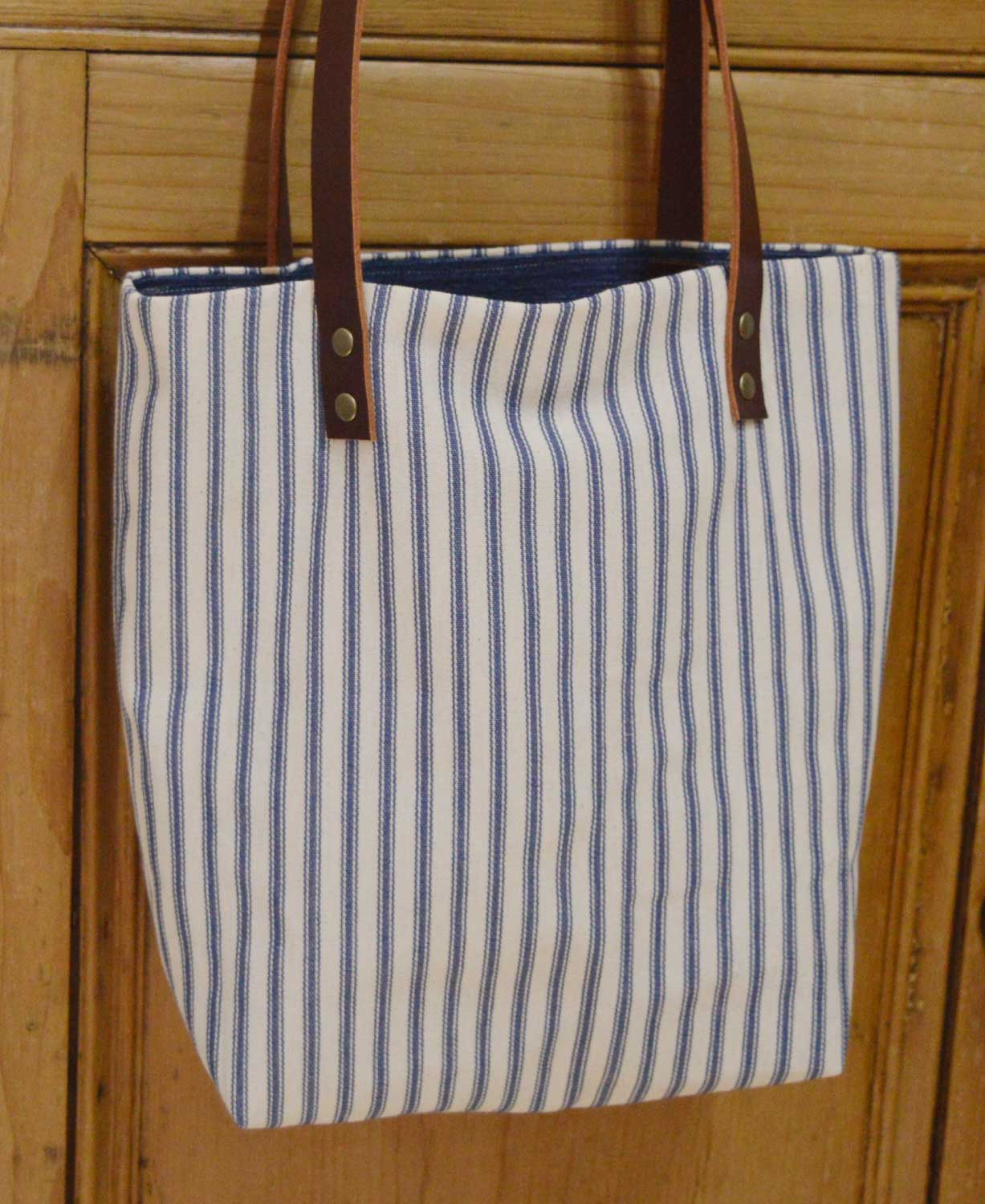 Sewn at Holm Sown - Genoa Tote Bag // stripe bag with brown leather handles