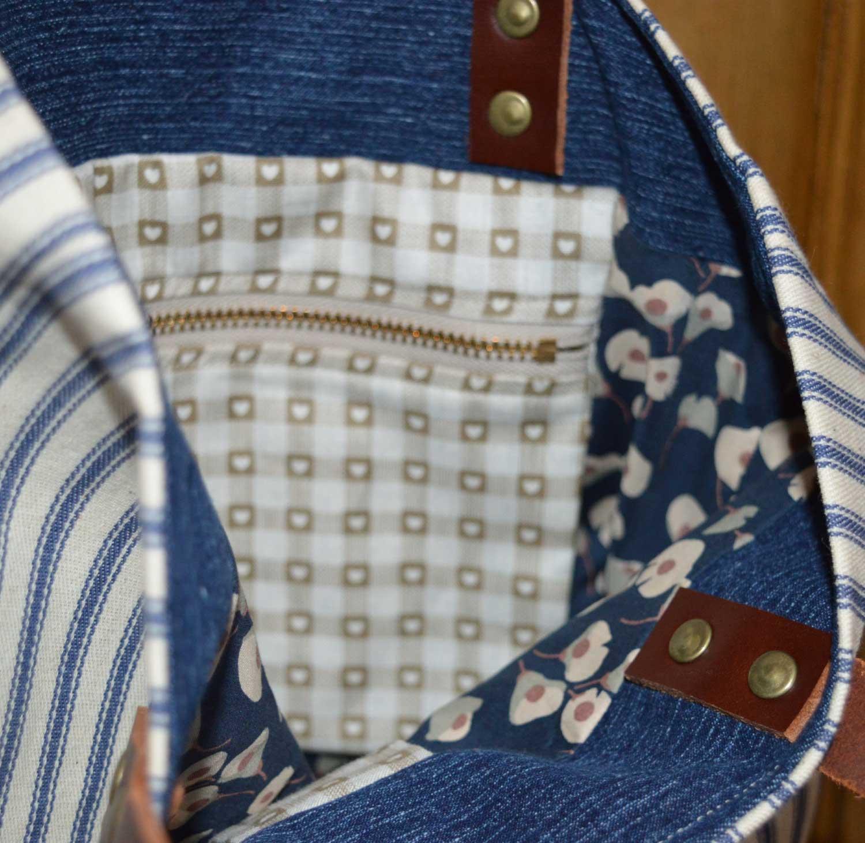 Sewn at Holm Sown - Genoa Tote Bag // stripe tote bag interior 2