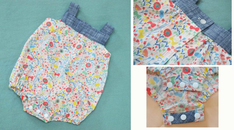 Holm Sown: Kwik Sew K3776 Baby Romper in London Calling Cotton Lawn and Robert Kaufman Chambray Union Cross Hatch