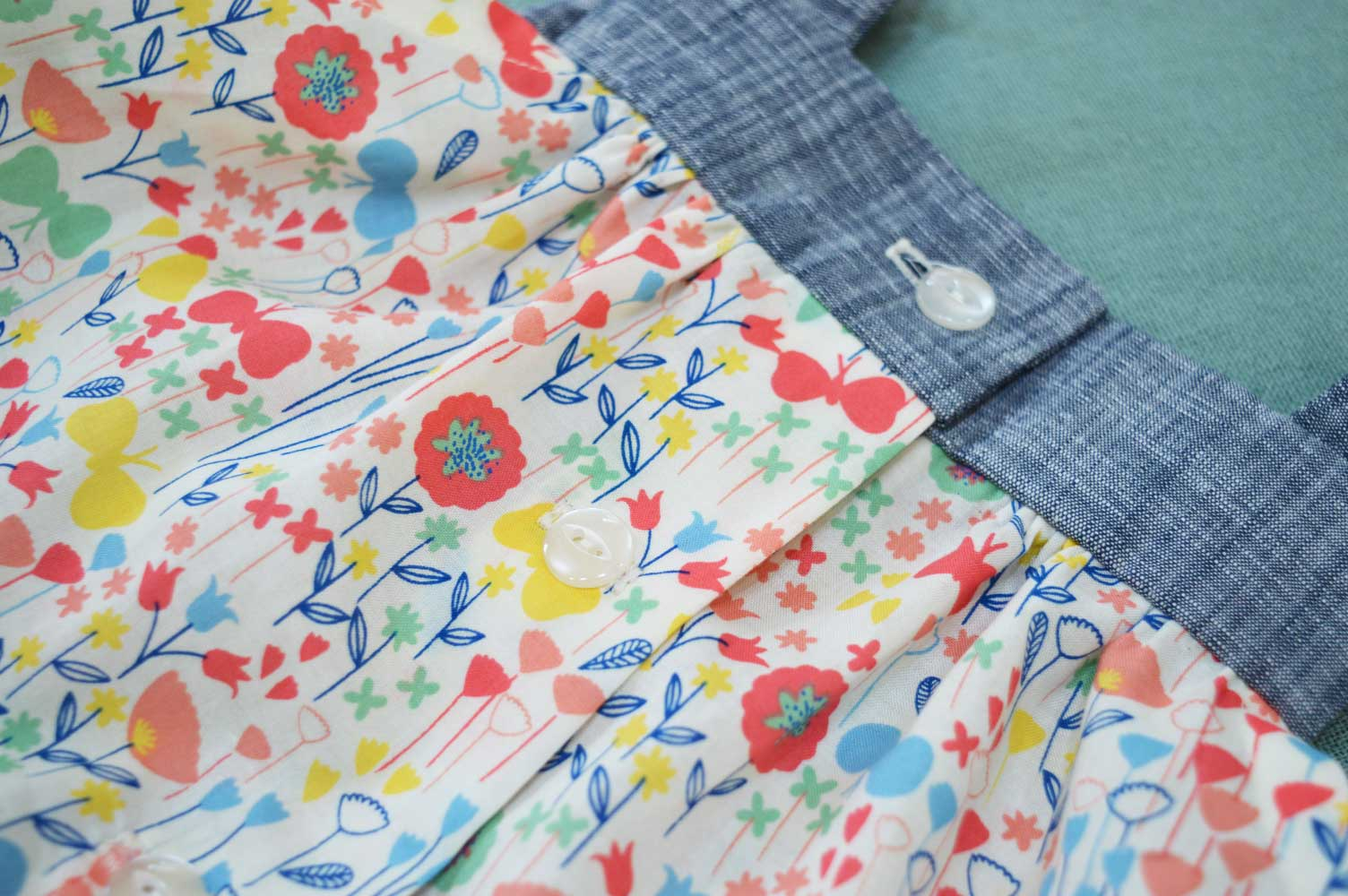 Holm Sown: Kwik Sew K3776 Baby Romper in London Calling Cotton Lawn - Back button placket