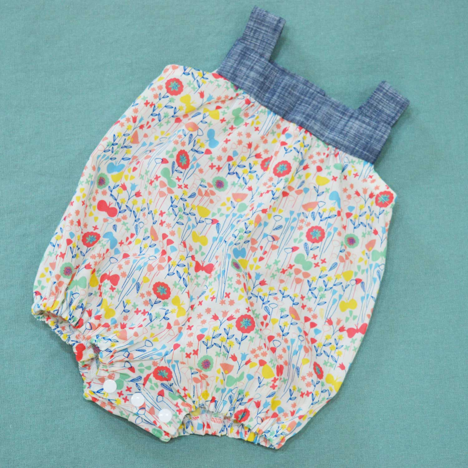 Holm Sown: Kwik Sew K3776 Baby Romper in London Calling Cotton Lawn - front view