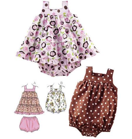 Holm Sown: Kwik Sew K3776 - Baby's dress, bloomers and romper sewing pattern | pattern envelope illustration