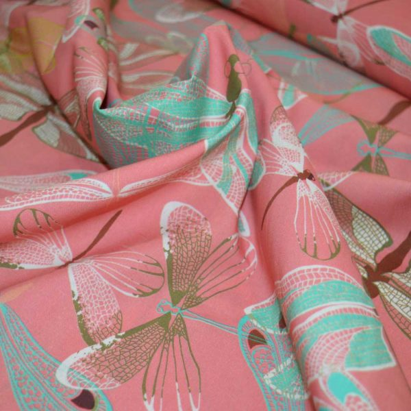 Lady McElroy Pink Damselfly Luxury Cotton Lawn | dressmaking fabric | Holm Sown