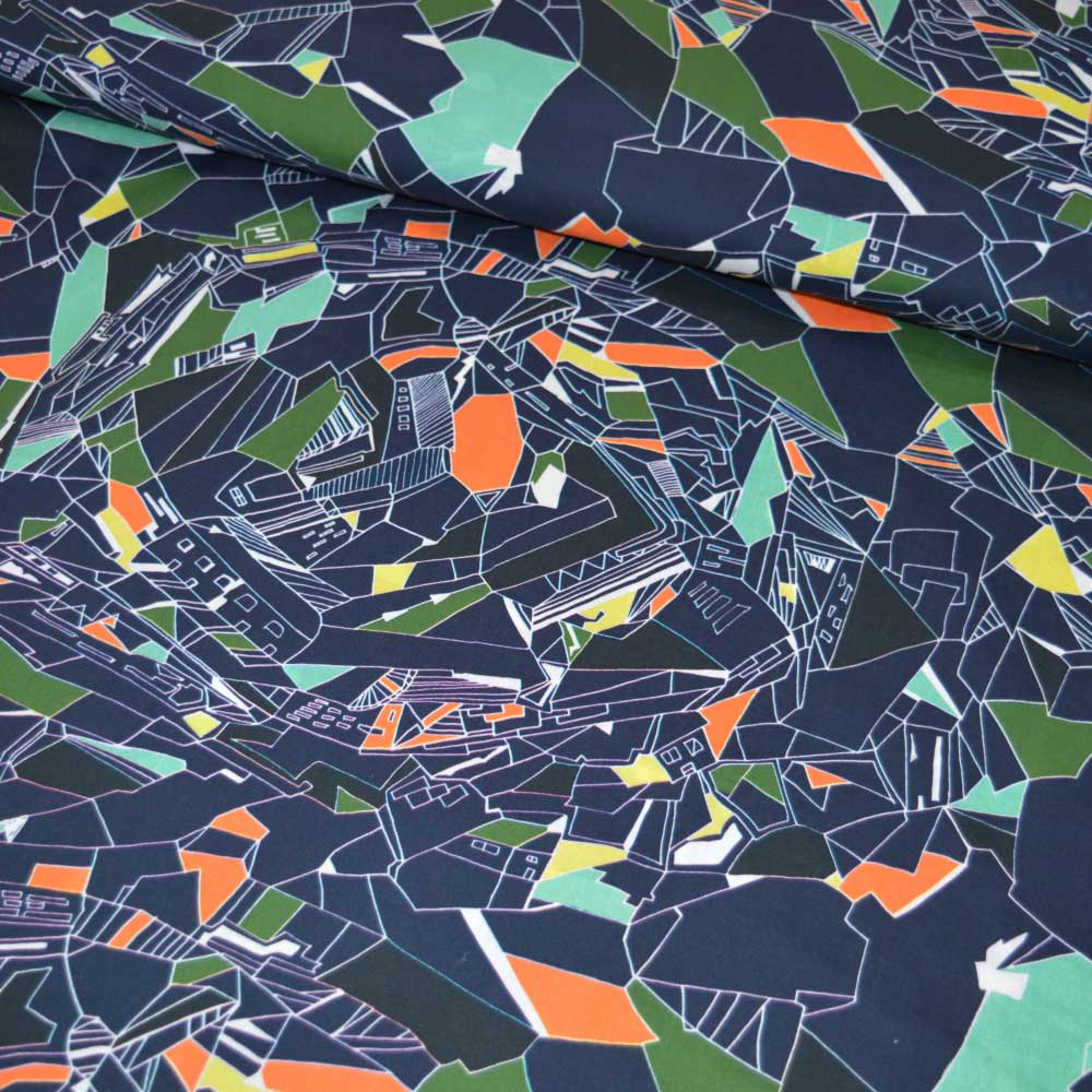 Lady McElroy Retro Cityscape Luxury Cotton Lawn | dressmaking fabric | Holm Sown