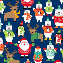 Makower Novelty Christmas Characters Scatter | quilting cotton fabric | Holm Sown online fabric shop