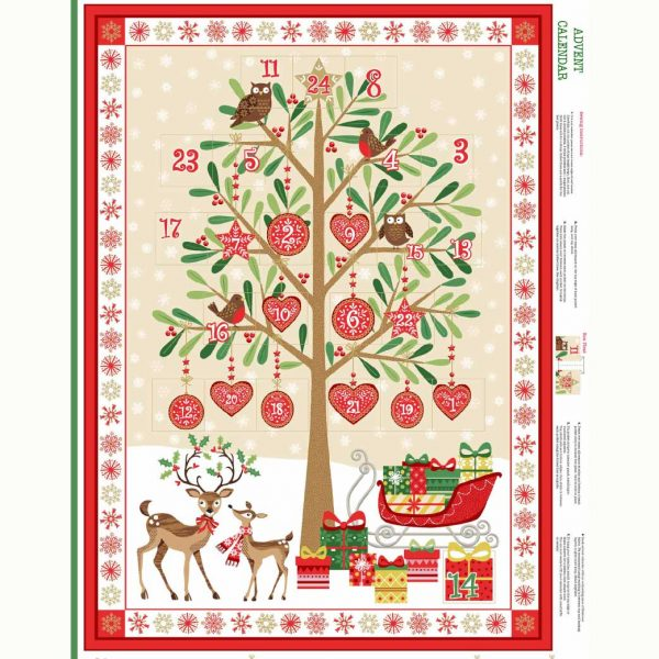 Makower Traditional Christmas Tree Advent Panel | quilting cotton fabric | Holm Sown online fabric shop