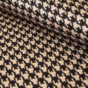 Ponte Roma - Cappuccino Houndstooth | Dressmaking Fabric | Holm Sown
