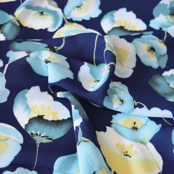 Poppy Crepe Georgette Blue | Dressmaking Fabric | Holm Sown