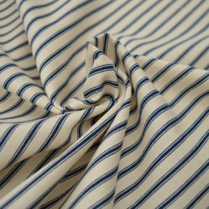 Stripe Cotton Canvas Ticking Fabric - Navy Blue | Holm Sown online fabric shop
