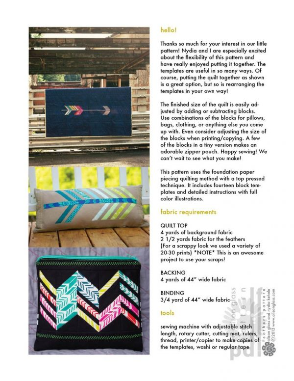 Alison Glass Patterns - Feathers Quilt Pattern - fabric requirements | Holm Sown