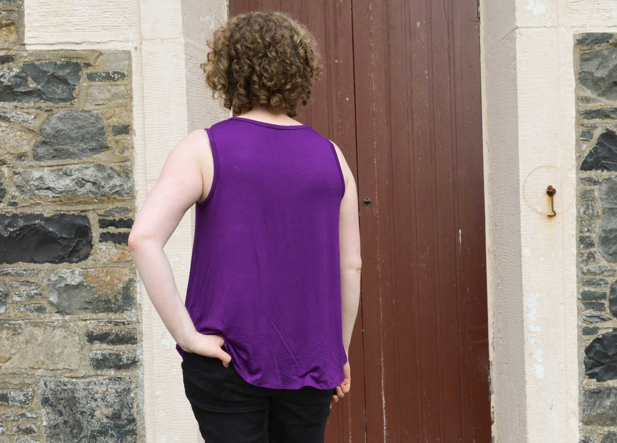 Holm Sown: Hey June Santa Fe Sleeveless Top in purple viscose jersey // back view