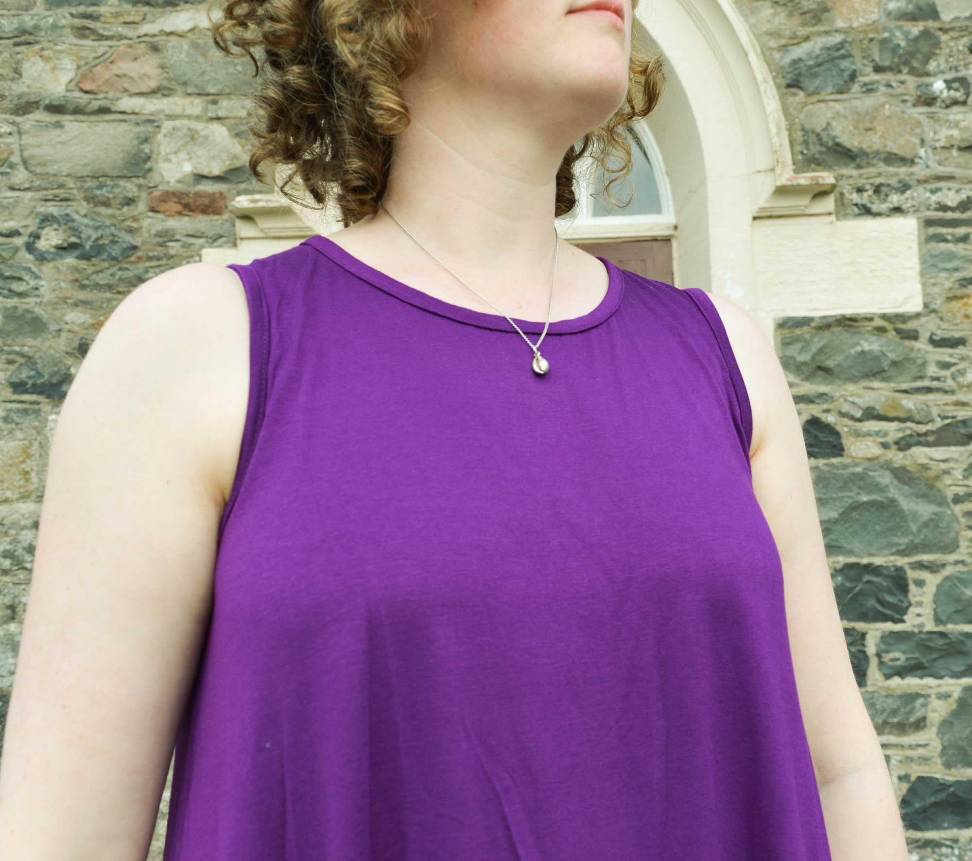 Holm Sown: Hey June Santa Fe Sleeveless Top in purple viscose jersey // arm and neckline binding