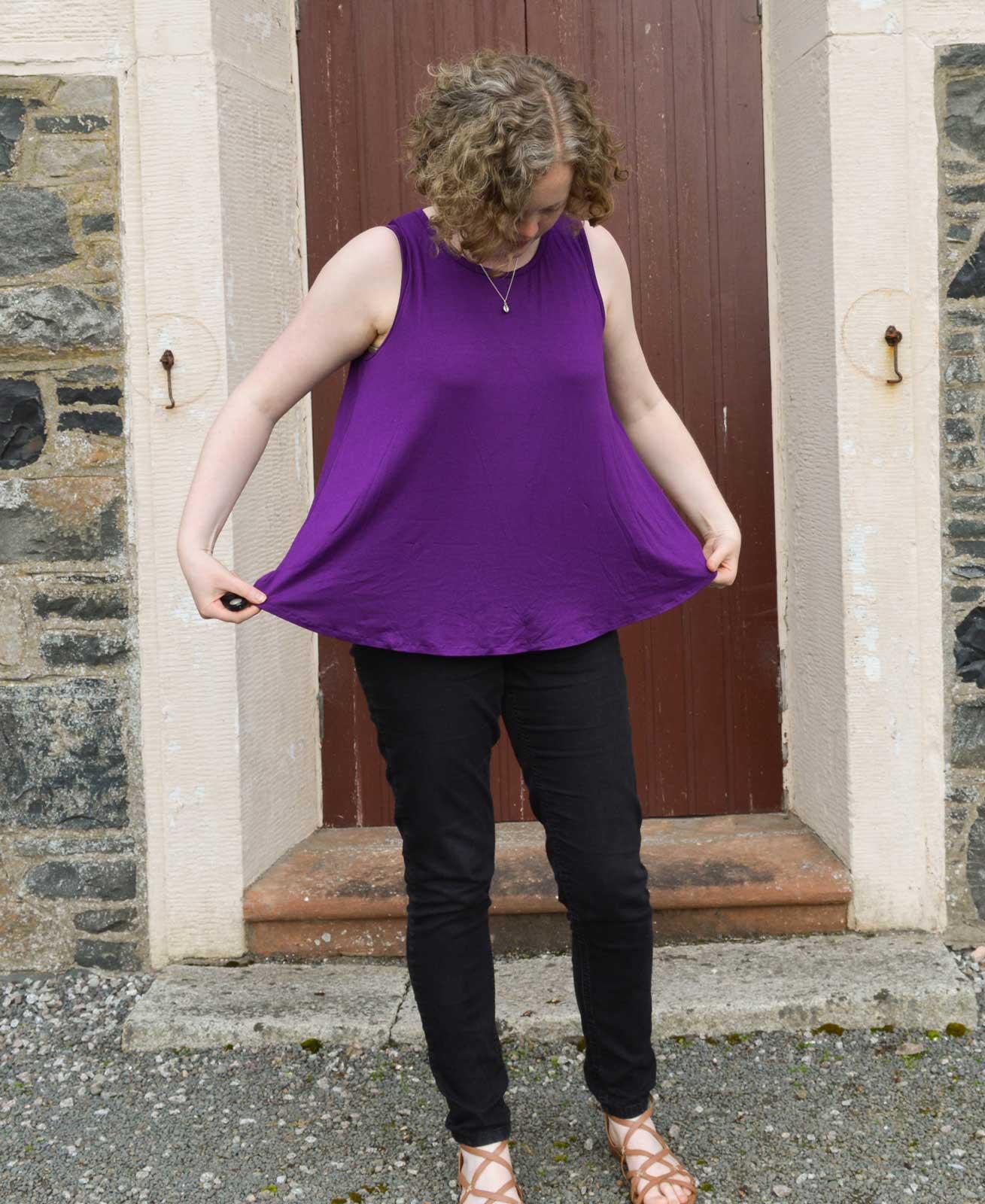 Holm Sown: Hey June Santa Fe Sleeveless Top in purple viscose jersey // swing hem