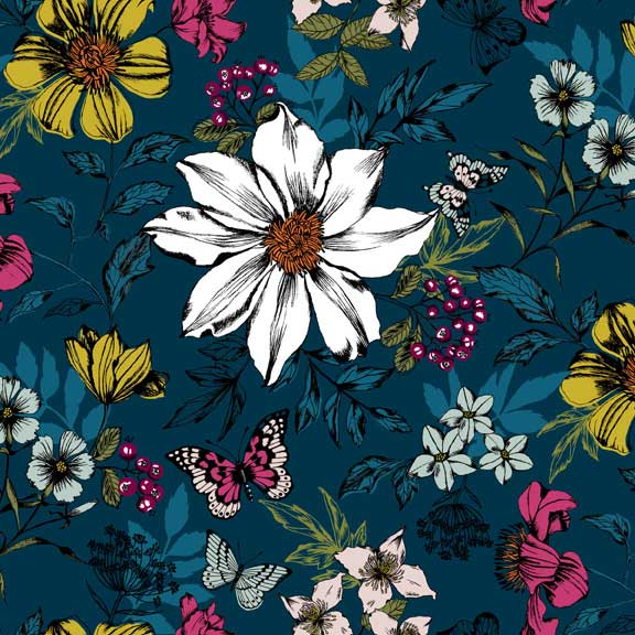 Makower Botanica Exotic Floral Blue | quilting cotton fabric | Holm Sown