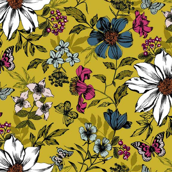 Makower Botanica Exotic Floral Yellow | quilting cotton fabric | Holm Sown