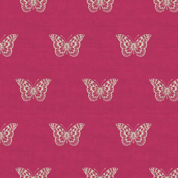 Makower Botanica Butterfly Pink | quilting cotton fabric | Holm Sown