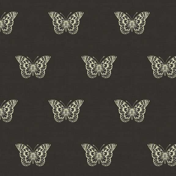 Makower Botanica Butterfly Black | quilting cotton fabric | Holm Sown