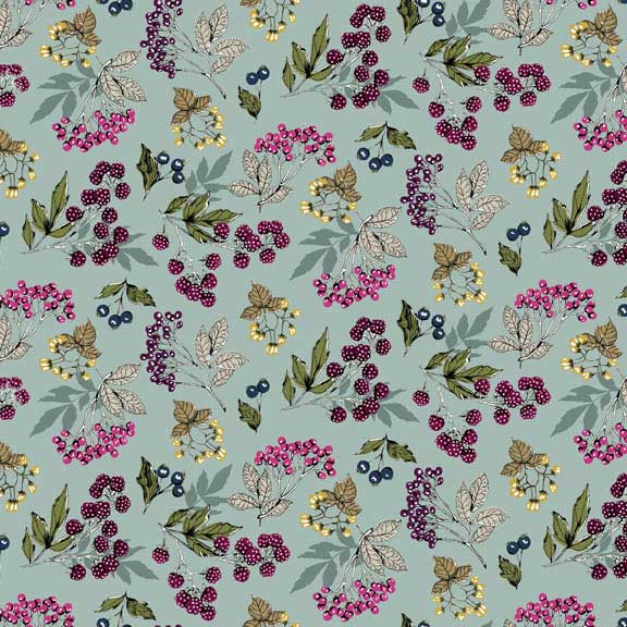 Makower Botanica Forest Fruits Blue | quilting cotton fabric | Holm Sown