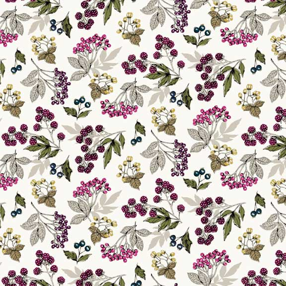 Makower Botanica Forest Fruits Cream | quilting cotton fabric | Holm Sown
