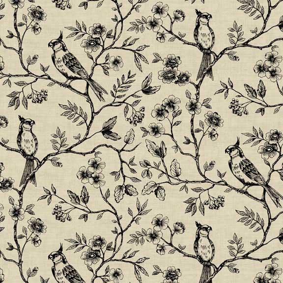 Makower Botanica Birds on Vine Cream | quilting cotton fabric | Holm Sown