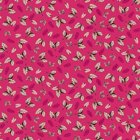 Makower Botanica Leaf Pink | quilting cotton fabric | Holm Sown