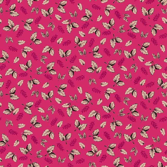 Makower Botanica Leaf Pink | quilting cotton fabric | Holm Sown