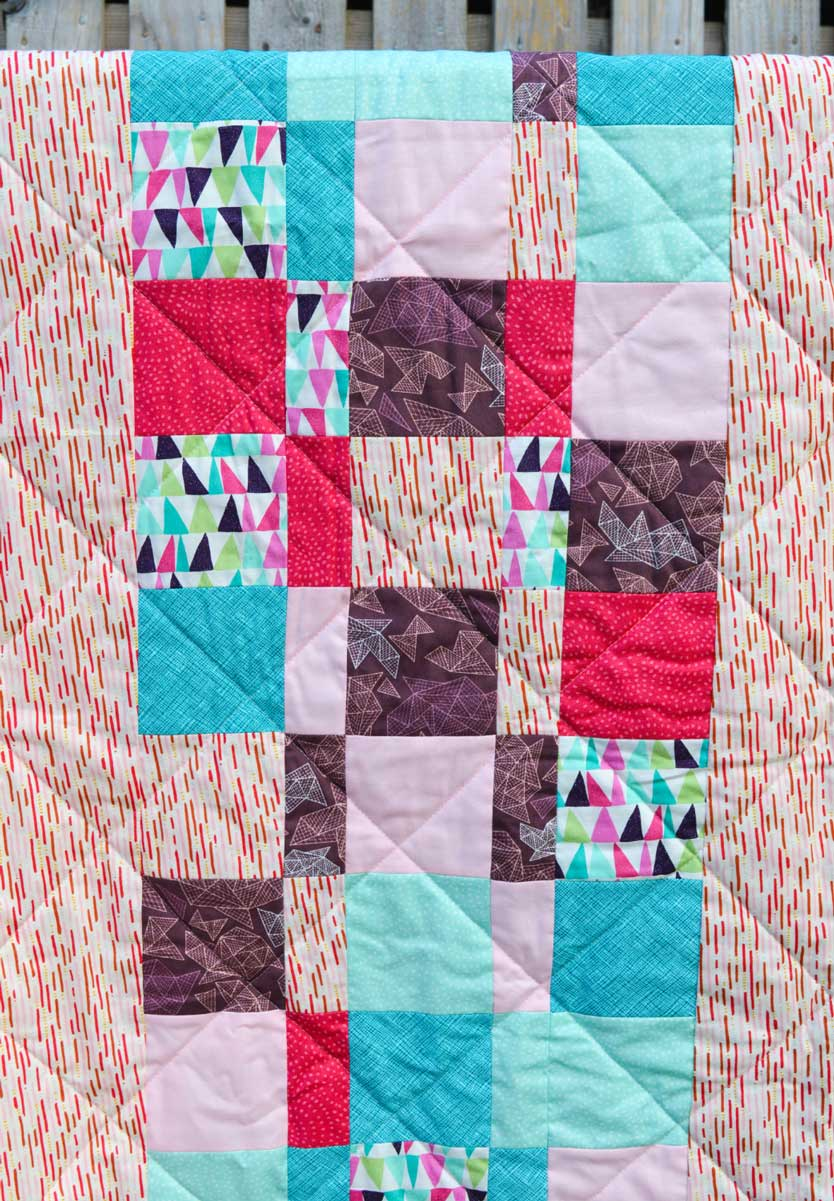 Holm Sown: One Scoop or Two? - A Trip Around The World Quilt // pieced back detail