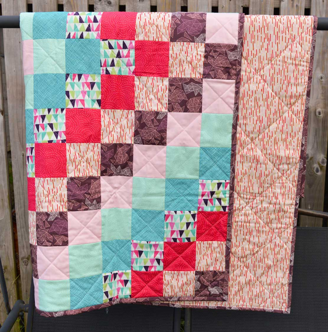 Holm Sown: One Scoop or Two? - A Trip Around The World Quilt // front folded