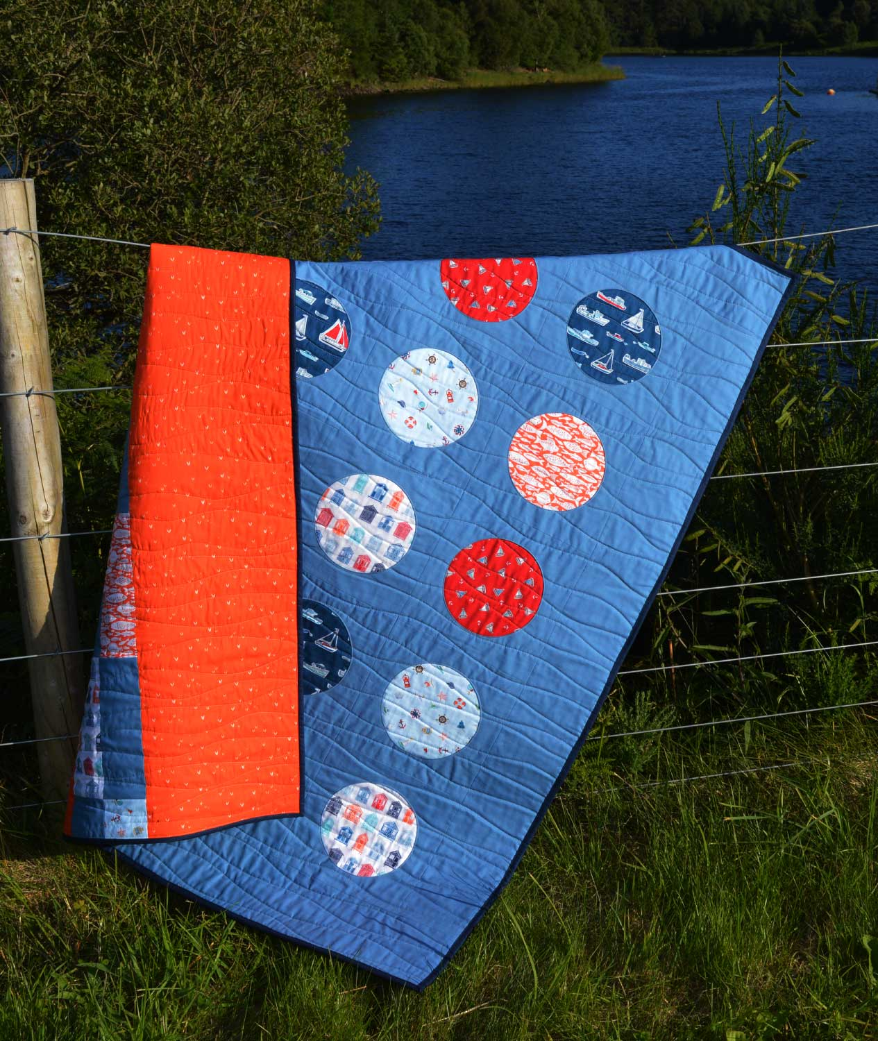 Holm Sown: Whatever Floats Your Boat Porthole Quilt // reverse applique // front and back