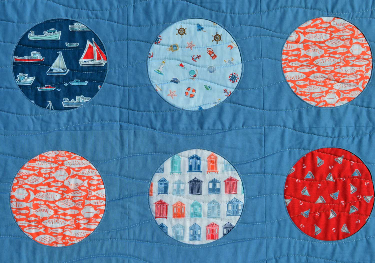 Holm Sown: Whatever Floats Your Boat Porthole Quilt // reverse applique // porthole detail