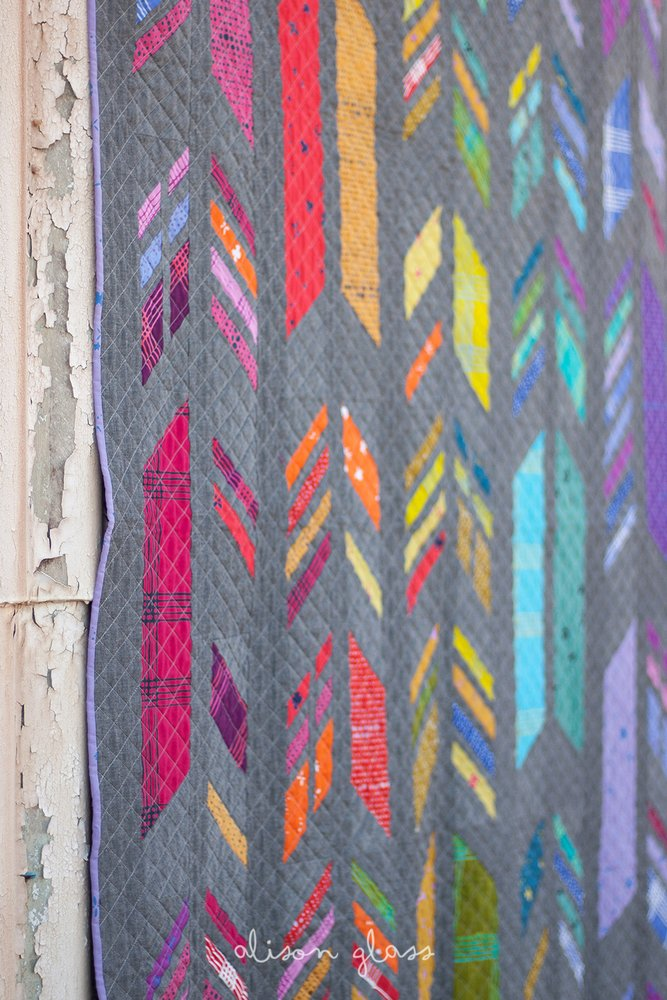 Holm Sown: Alison Glass Chroma Handcrafted Batik - Feathers Quilt