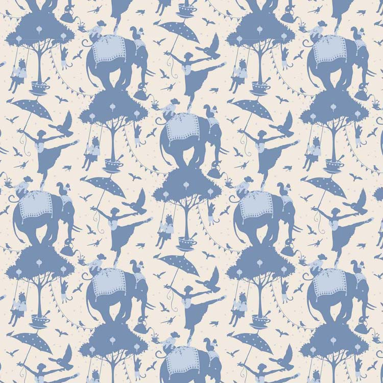 Tilda Circus – Circus Life Blue 100% cotton quilting fabric | Holm Sown