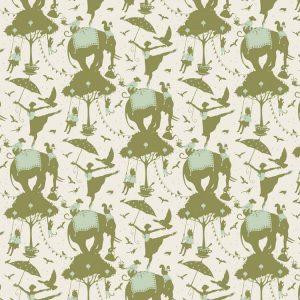Tilda Circus – Circus Life Green 100% cotton quilting fabric   Holm Sown