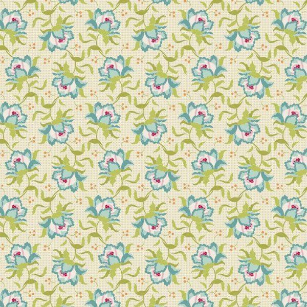 Tilda Circus – Clown Flower Green 100% cotton quilting fabric | Holm Sown