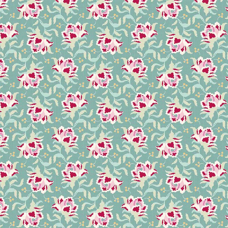 Tilda Circus – First Kiss Teal 100% cotton quilting fabric | Holm Sown