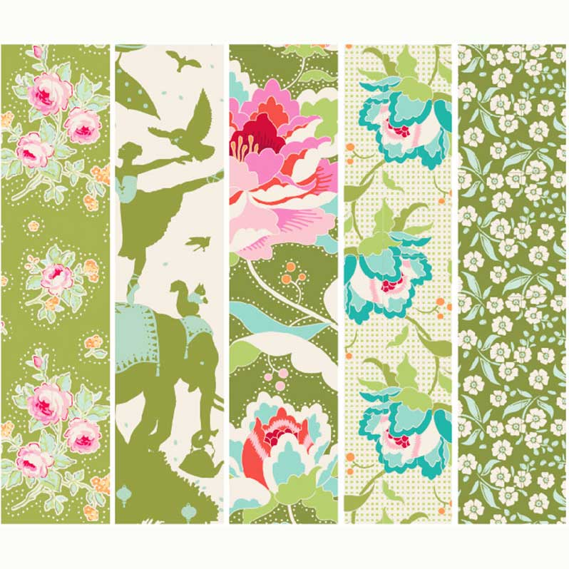 Tilda Circus Collection Green 100% cotton quilting fabric | Holm Sown
