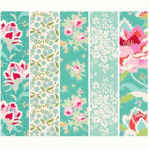 Tilda Circus Collection Teal 100% cotton quilting fabric | Holm Sown