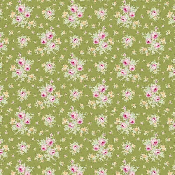 Tilda Circus – First Kiss Green 100% cotton quilting fabric | Holm Sown