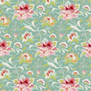 Tilda Circus – Circus Rose Teal 100% cotton quilting fabric | Holm Sown