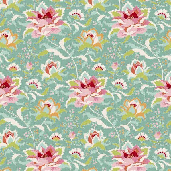 Tilda Circus – Circus Rose Teal 100% cotton quilting fabric | Holm Sown