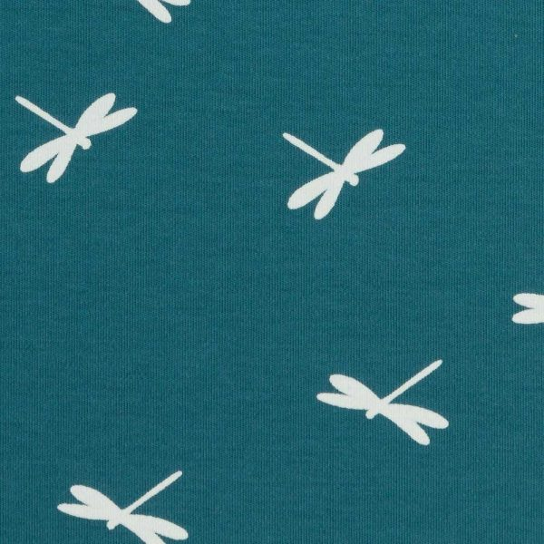 Interlock Jersey Dragonflies Teal- Holm Sown
