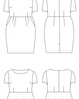 Cashmerette Sewing Patterns - Rivermont Dress & To - line drawing - Holm Sown