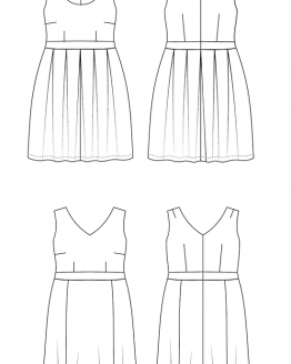 Holm Sown Online Fabric Shop - Cashmerette Patterns Upton Dress Sewing Pattern - line drawing