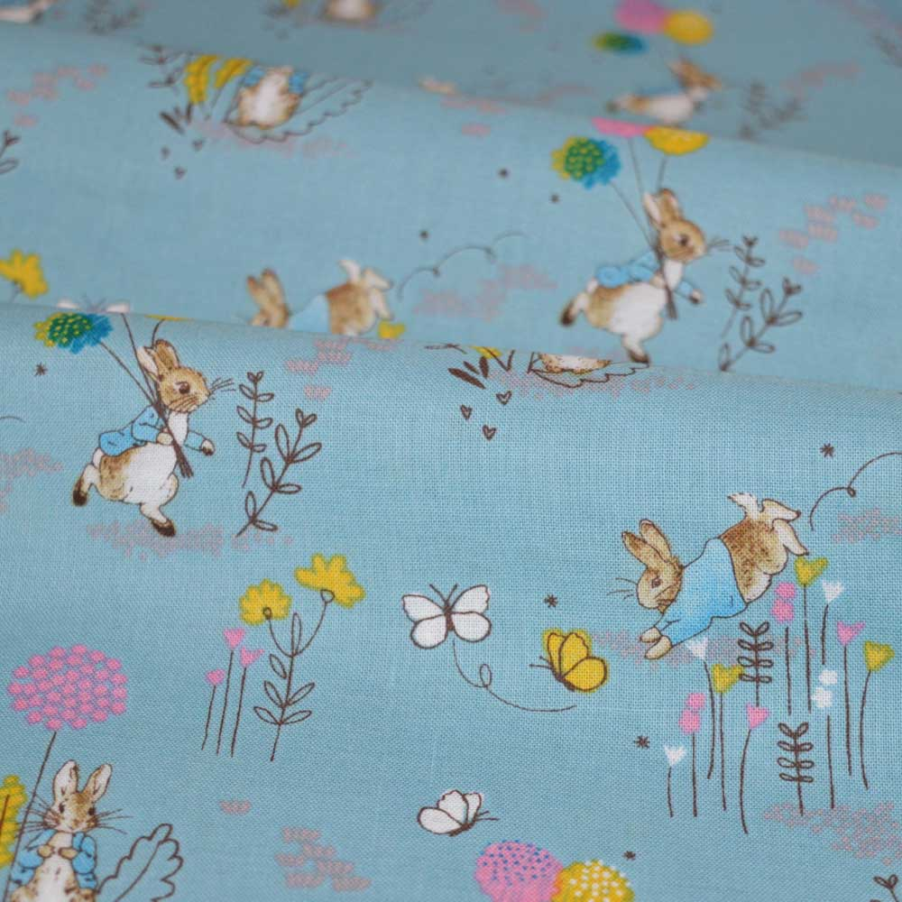 Holm Sown Online Fabric Shop - Cotton Fabric - Beatrix Potter Peter Rabbit Flowers Blue