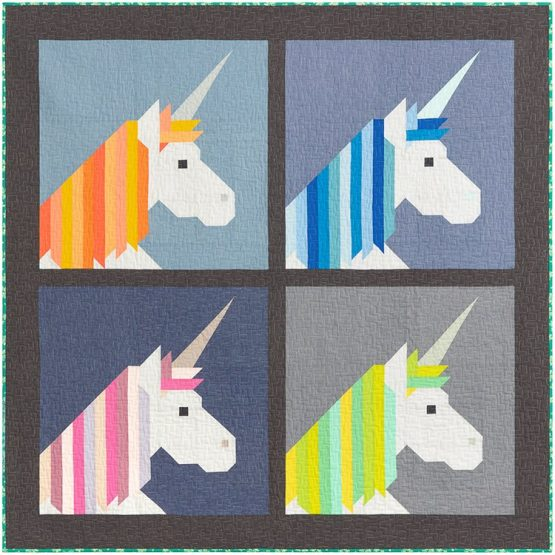 Holm Sown Online Fabric Shop - Elizabeth Hartman Lisa The Unicorn Quilt and Pillow Pattern - small quilt